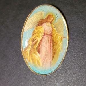 Vintage Vatican Guardian Angel Oval Pin